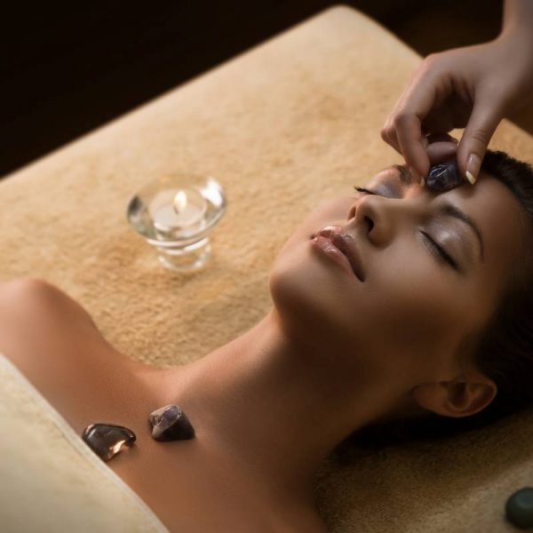 Massage with special chakra-stones. Luxury addition to the traditional hot stone therapy.